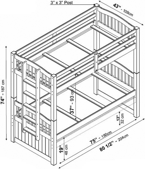 Palace Imports Triplet Twin/Twin Bunk Bed